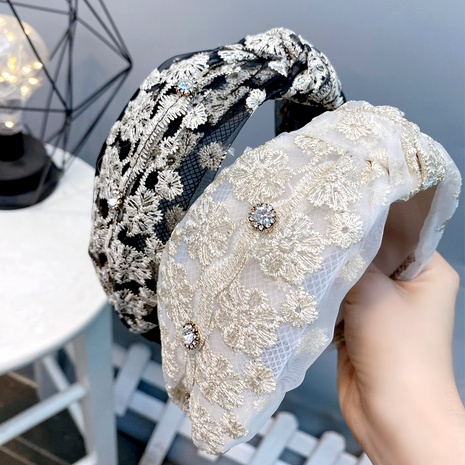 Retro Baroque Lace Diamond Knotted Broad-Bim Headband  NHFS286638's discount tags