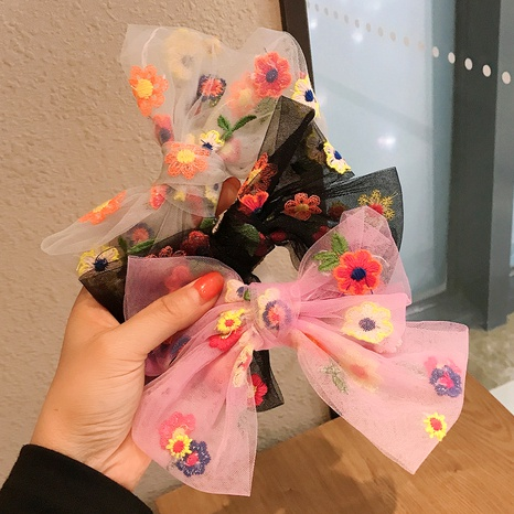 embroidery flower mesh bow hairpin  NHDQ286656's discount tags