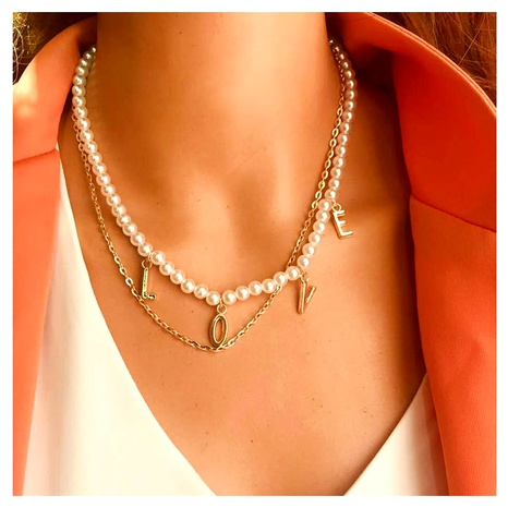 alloy letter LOVE pendant necklace NHCT286685's discount tags