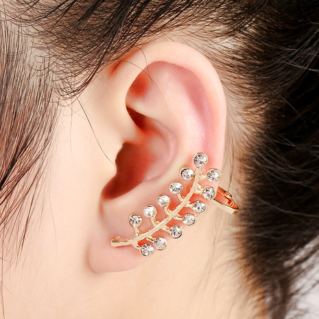 olive leaf rhinestone ear clip earrings NHYE286757's discount tags