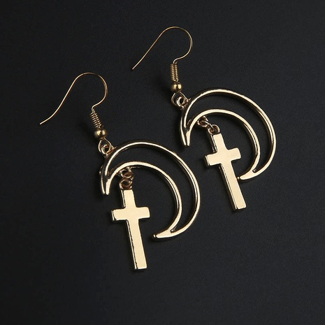 Fashion Silver Moon Cross Earrings  NHYE286765's discount tags