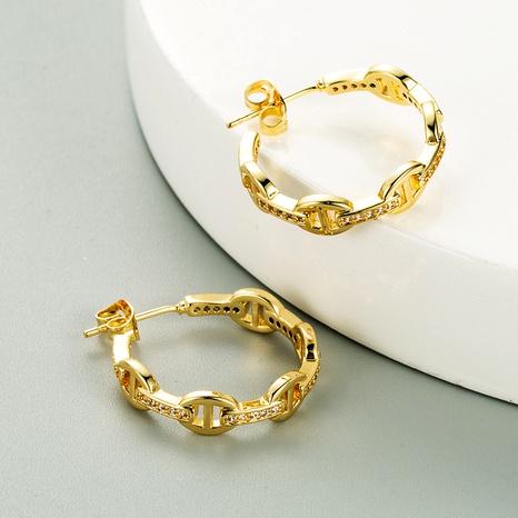 Pendientes de circonitas con micro incrustaciones de latón chapado en oro de moda NHLN286782's discount tags