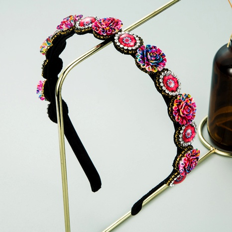 new baroque retro color small flower resin diamond-studded hair band  NHLN286774's discount tags