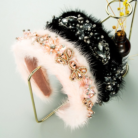 new high-end fluffy luxury crystal diamond wide-brimmed hair band  NHLN286770's discount tags