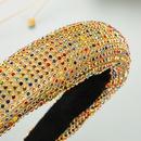 Color Full Rhinestone Sponge Thickened Wide Side Hairband  NHLN286775