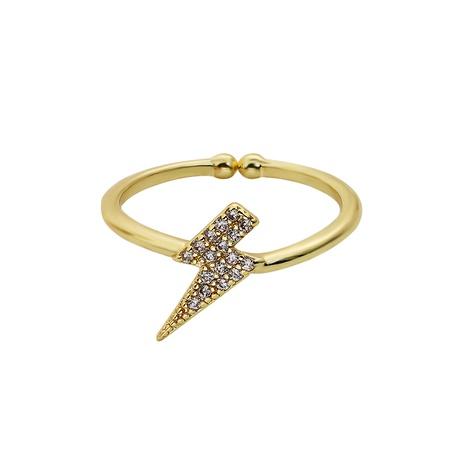 Korea fashion  lightning shape copper inlaid zircon ring NHJQ286787's discount tags
