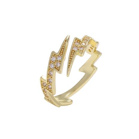 fashion copper inlaid zircon  symmetrical lightning gold ring  NHJQ286788's discount tags