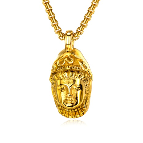 retro fashion stainless steel carved Buddha pendant necklace NHOP286826's discount tags