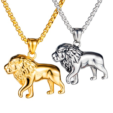 retro lion titanium steel necklace NHOP286837's discount tags