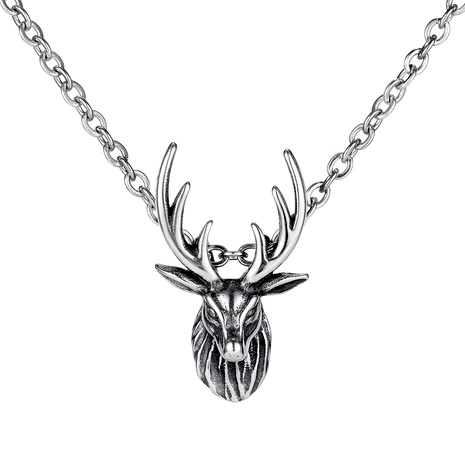 retro sika deer titanium steel pendant necklace NHOP286825's discount tags