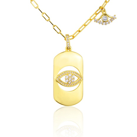 gold-plated eye diamond pendant necklace NHBP286854's discount tags