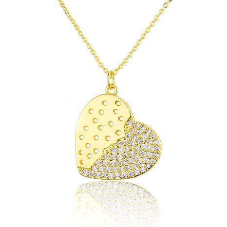gold-plated semi-inlaid zirconium heart pendant necklace NHBP286861's discount tags