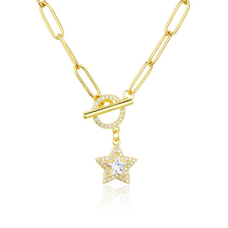 gold-plated diamond five-pointed star necklace  NHBP286865's discount tags