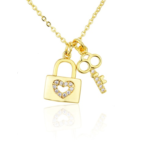 gold-plated diamond key necklace NHBP286866's discount tags