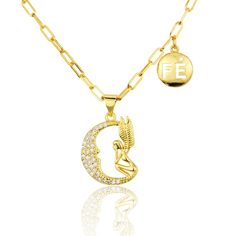 gold-plated moon angel necklace NHBP286867's discount tags