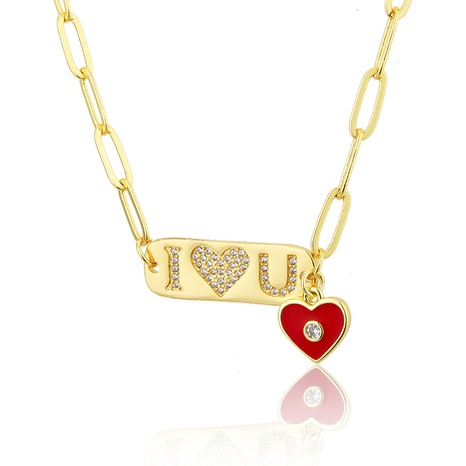 diamond-studded letter love tag pendant necklace NHBP286876's discount tags