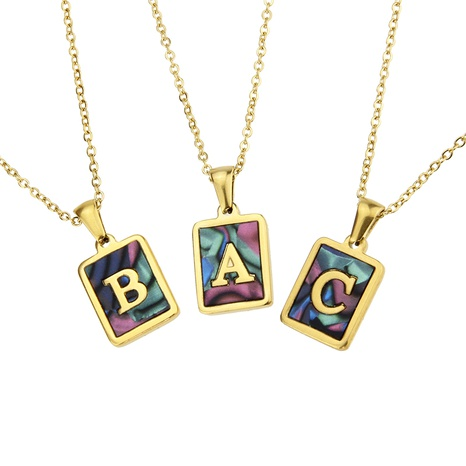 stainless steel square shell 26 letter necklace NHBP286896's discount tags