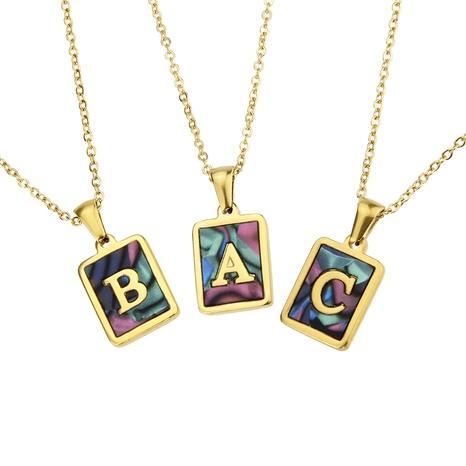 collar de concha cuadrada de acero inoxidable con 26 letras NHBP286896's discount tags