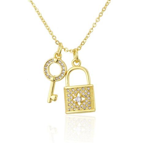 inlaid zirconium key lock diamond pendant necklace NHBP286898's discount tags