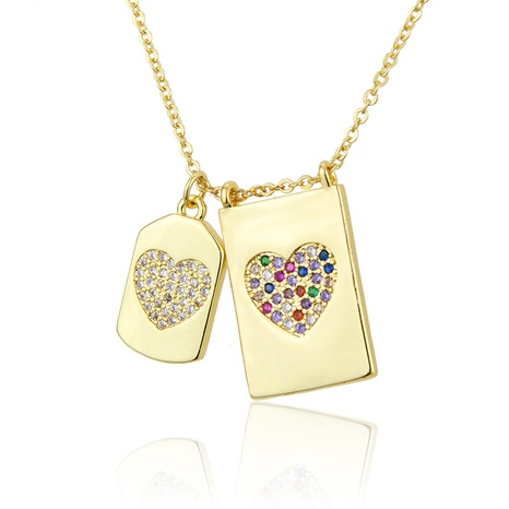 gold plated necklace diamond-studded zirconium heart-shaped NHBP286897's discount tags