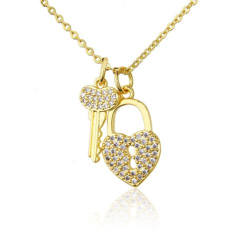 inlaid zirconium key diamond lock tag necklace NHBP286900's discount tags
