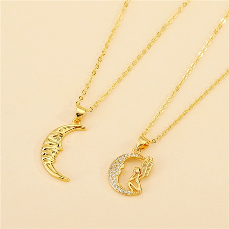 Korea Cute Smile Diamond Moon Necklace  NHGO286906's discount tags