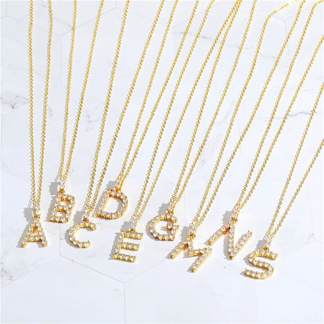 copper micro-inlaid zircon  AZ 26 English letters necklace  NHGO286914's discount tags
