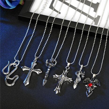 Retro Persönlichkeit Punk Gothic Schädel Red Diamond Kreuz Anhänger Halskette NHGO286920's discount tags