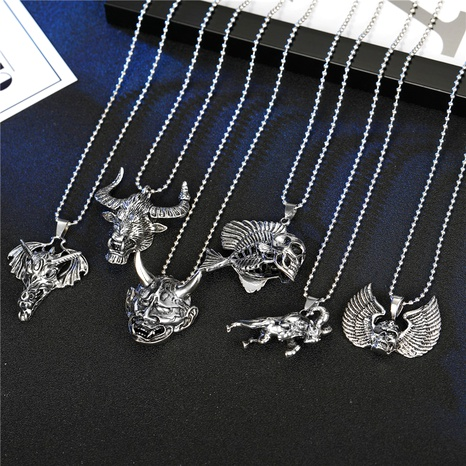 punk hip-hop skull wings goat animal pendant necklace  NHGO286921's discount tags