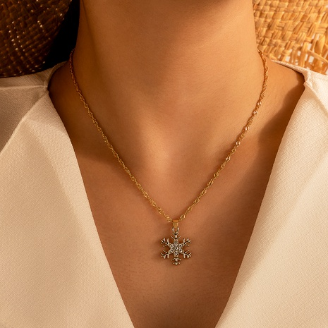 Christmas diamond snowflake necklace  NHGY287384's discount tags