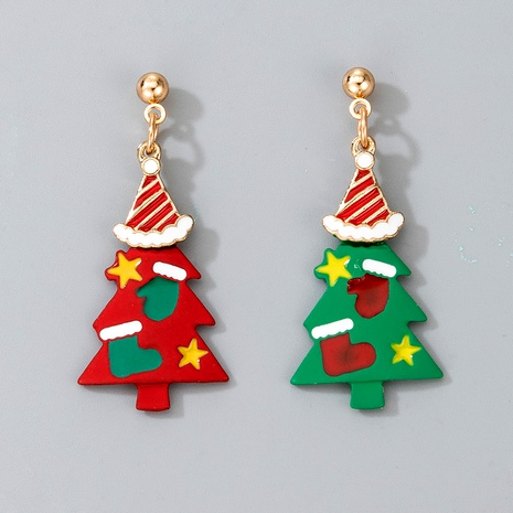 Christmas alloy spray paint tree earrings NHGY287379's discount tags