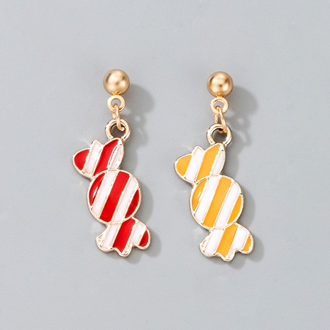 cute Christmas yellow red candy pendant earrings  NHGY287376's discount tags