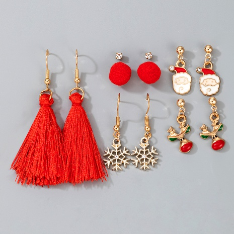 cute Christmas pompom Santa Claus pendant tassel earrings  NHGY287372's discount tags