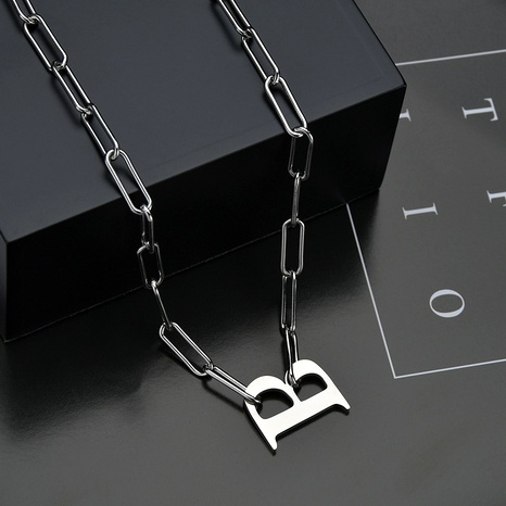 simple letter B word titanium steel necklace NHHF286483's discount tags