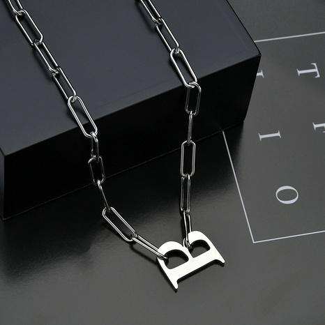collar de acero titanio palabra simple letra B NHHF286483's discount tags