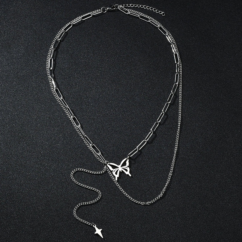 butterfly titanium steel necklace NHHF286487