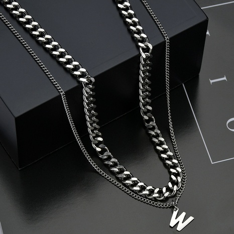 W letter double-layer titanium steel necklace NHHF286494's discount tags