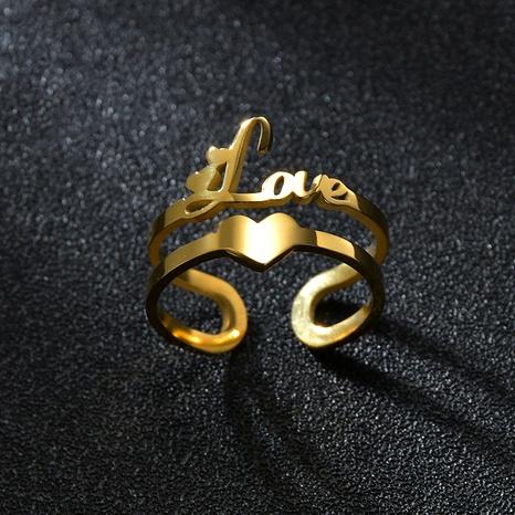 Bague ouverte Fashion Love Titanium Steel Letter NHHF286506's discount tags