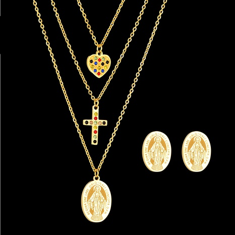 Maria Cross Necklace Set  NHHF286529's discount tags