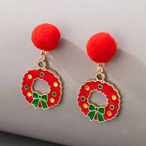Christmas series alloy wreath earrings NHGY287368's discount tags