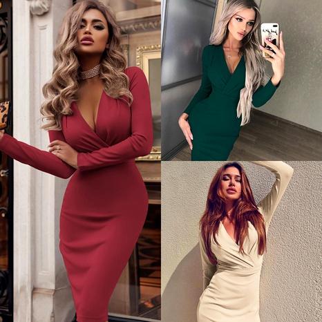 robe de couleur unie à manches longues et à col en V profond NHUO286982's discount tags