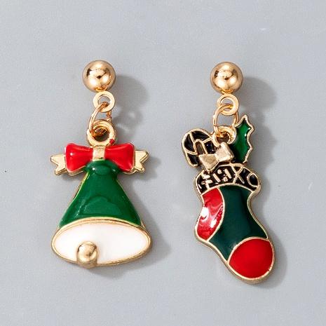 cute alloy diamond Christmas bells socks earrings  NHGY287367's discount tags