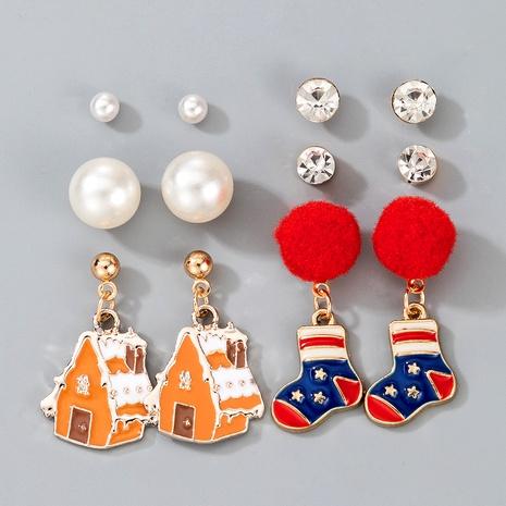 cute Christmas socks pearl diamond earrings NHGY287366's discount tags