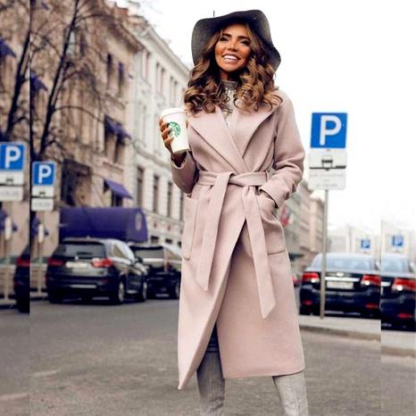 Abrigo de felpa de color puro de manga larga con solapa de moda NHUO287360's discount tags
