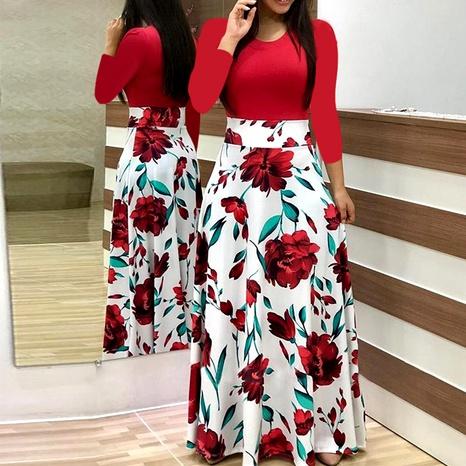 robe rétro à manches longues imprimée assortie NHUO287352's discount tags