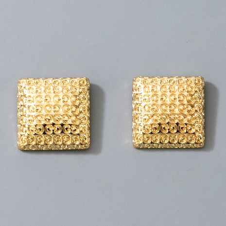 metal button letter square earrings  NHGY287350's discount tags