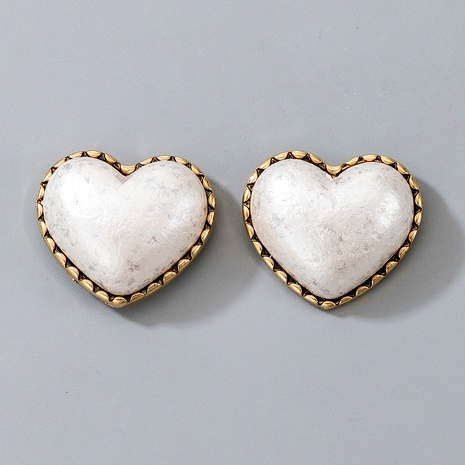pendientes de corazón de ópalo blanco exquisitos retro NHGY287349's discount tags