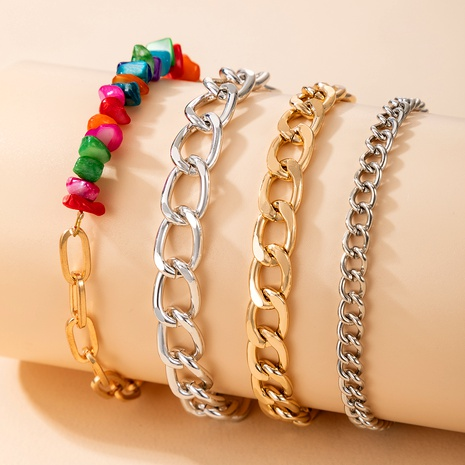 colored stone hip-hop alloy adjustable 4-piece bracelet NHGY287348's discount tags