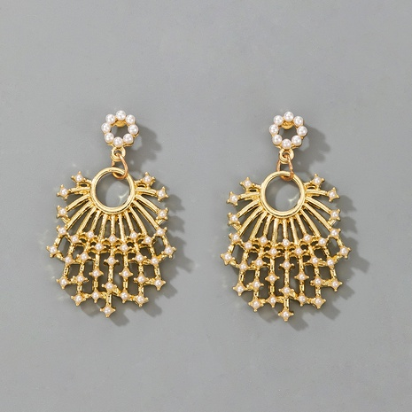 fan-shaped exquisite pearl retro earrings  NHGY287343's discount tags