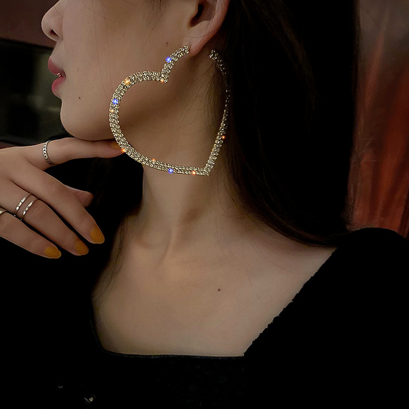 925 silver needle diamond love earrings  NHQC286944